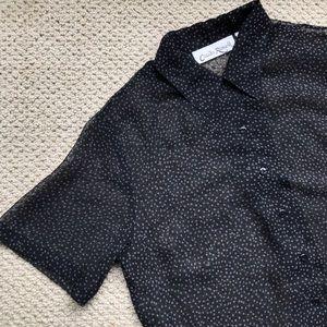 Vintage Black See Through Button Up Polka Dot Top